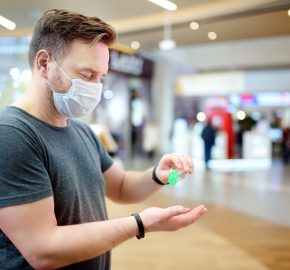 Man wearing disposable medical face